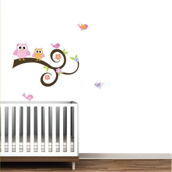 Vinyl Wall Decal Branch with Owls,Birds,Flowers-Vinyl Wall Decal