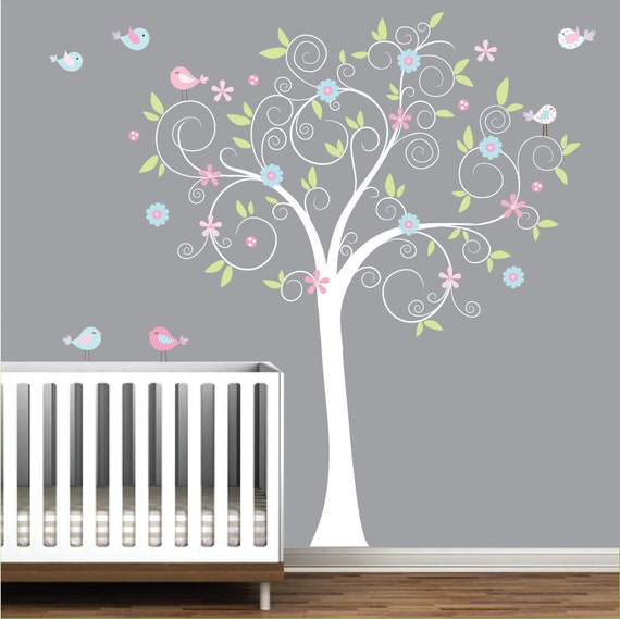 Children Wall Decals Vinyl wall decal Tree with flowers-Vinyl Tree Wall Decal