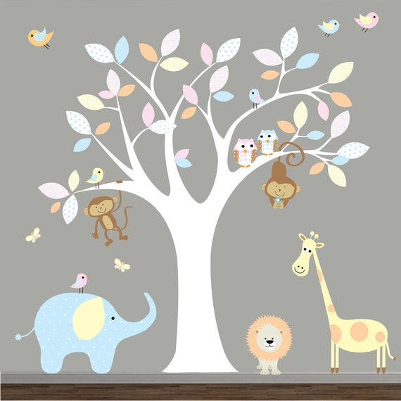 Jungle Vinyl Wall Decal with Animals-Nursery Tree Vinyl Decal