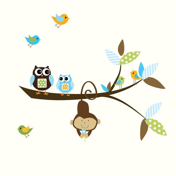 Children Vinyl Wall Decals Nursery Branch Jungle Wall Stickers with Monkey
