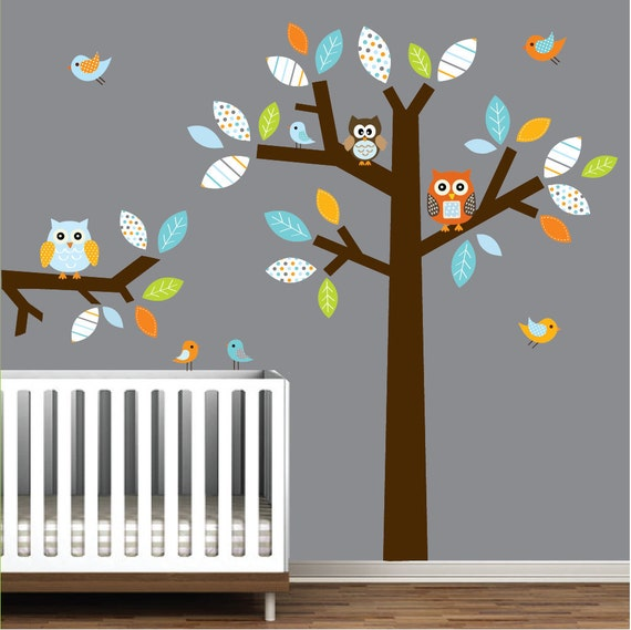 Wall decals vinyl wall decal tree with owls birds nursery wall for Bird and owl tree wall mural set