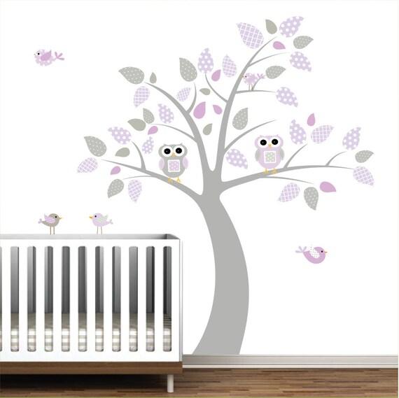 Wall Decals children vinyl decals- nursery tree with owls birds