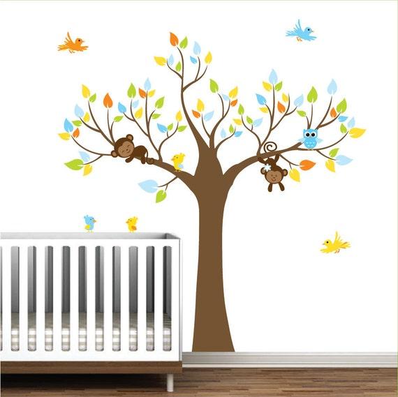 Vinyl Wall Decals tree decal with monkeys birds-Jungle Nursery Vinyl Decals