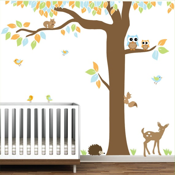 Vinyl Wall Decal Nursery Wall Vinyl Forest With Animals