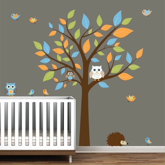 Children Nursery Wall Decal Stickers Owl and Birds Tree Nursery baby decals