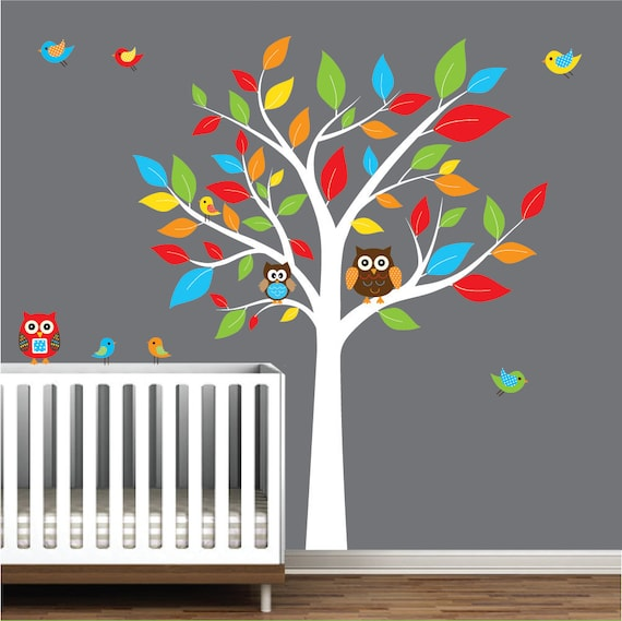 Children Nursery Wall Decal Stickers Owl and Birds Tree Nursery baby decals