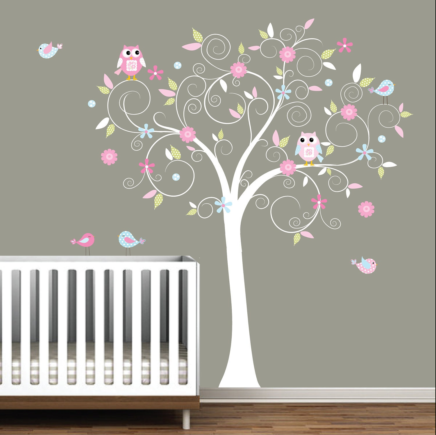 Decal stickers vinyl wall decals nursery tree e17 for Baby girl nursery mural