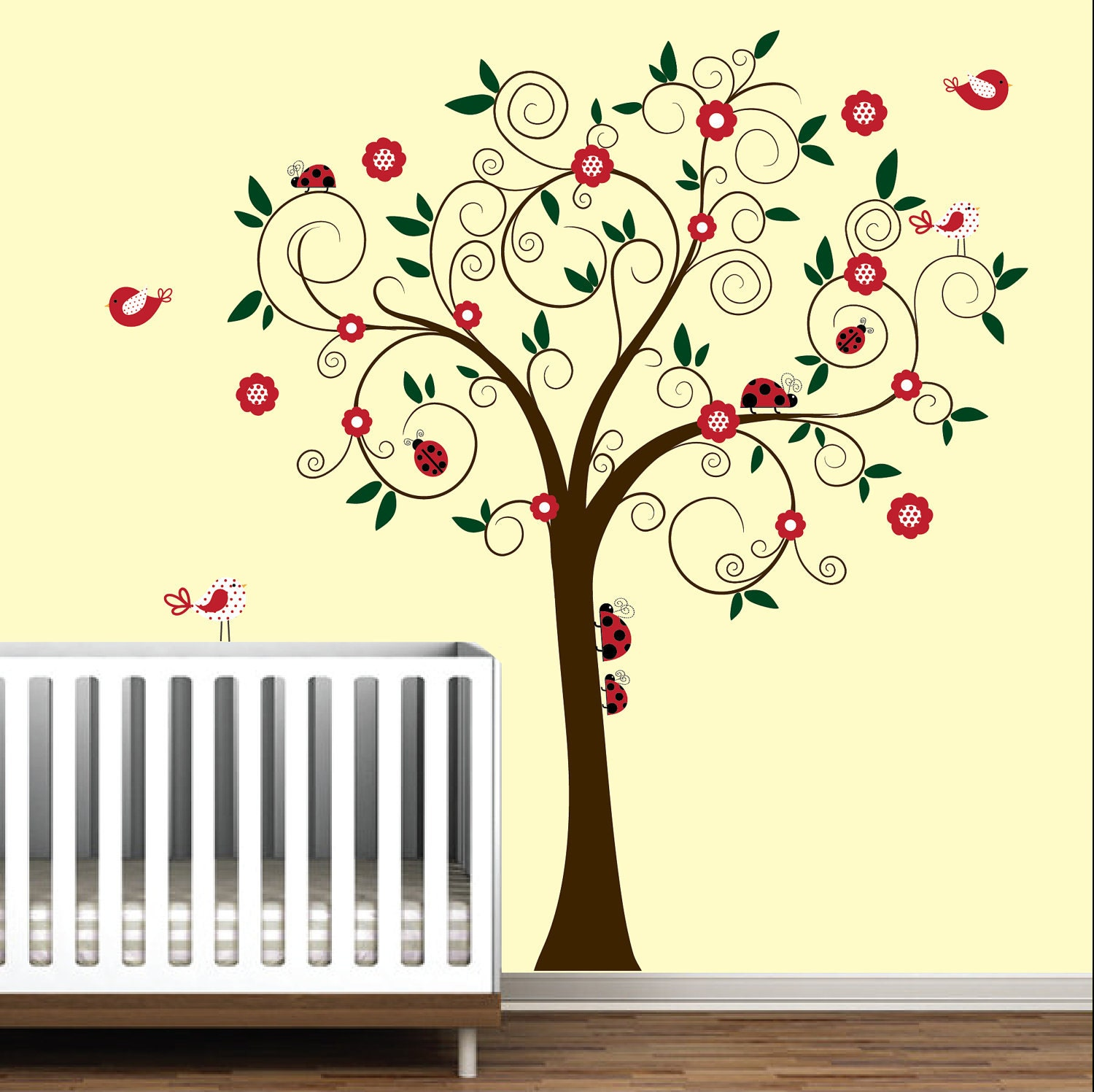 Baby nursery wall decal wall sticker tree decals ladybugs tree for Baby nursery tree mural
