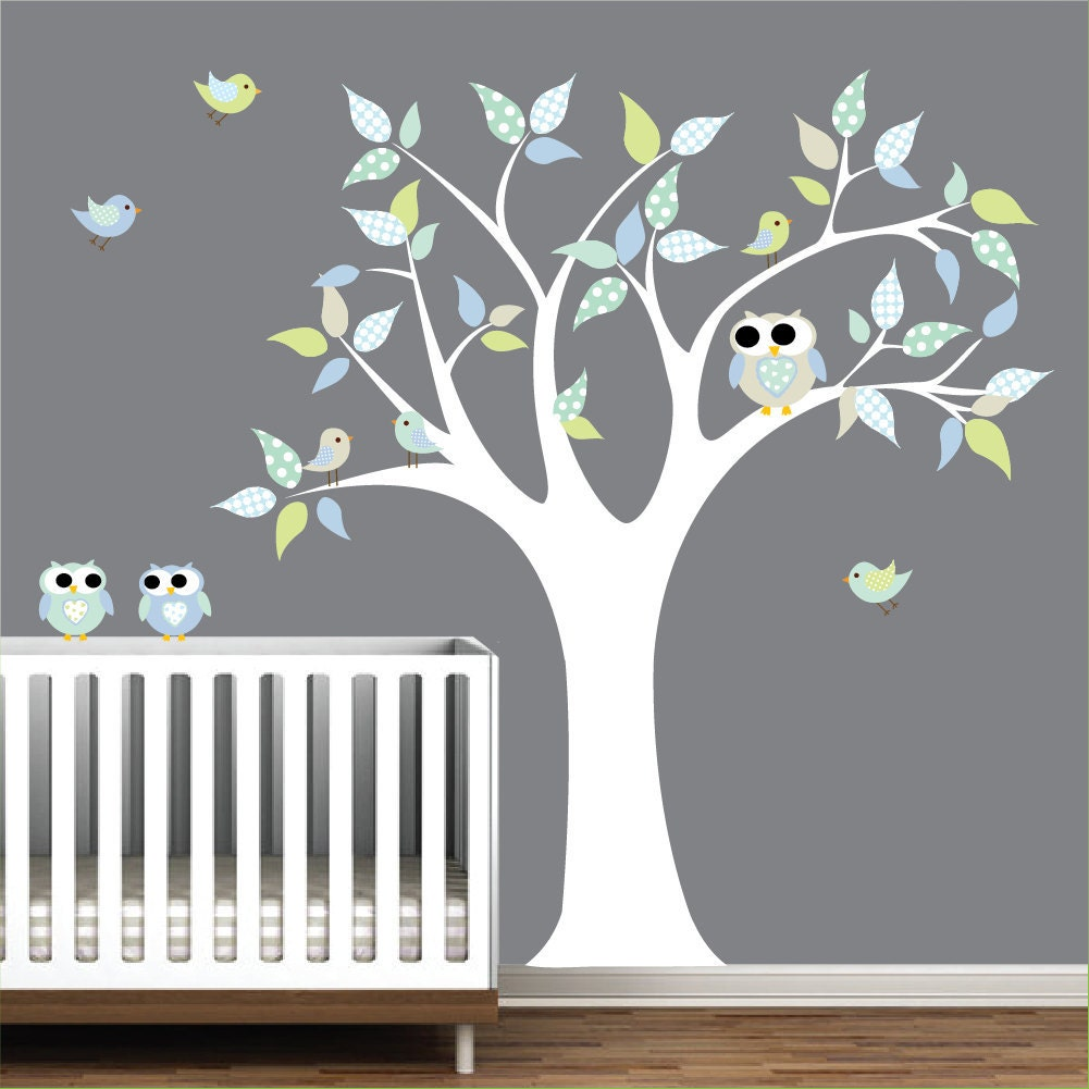 Children vinyl wall decals nursery tree wall decal by for Room decor stickers