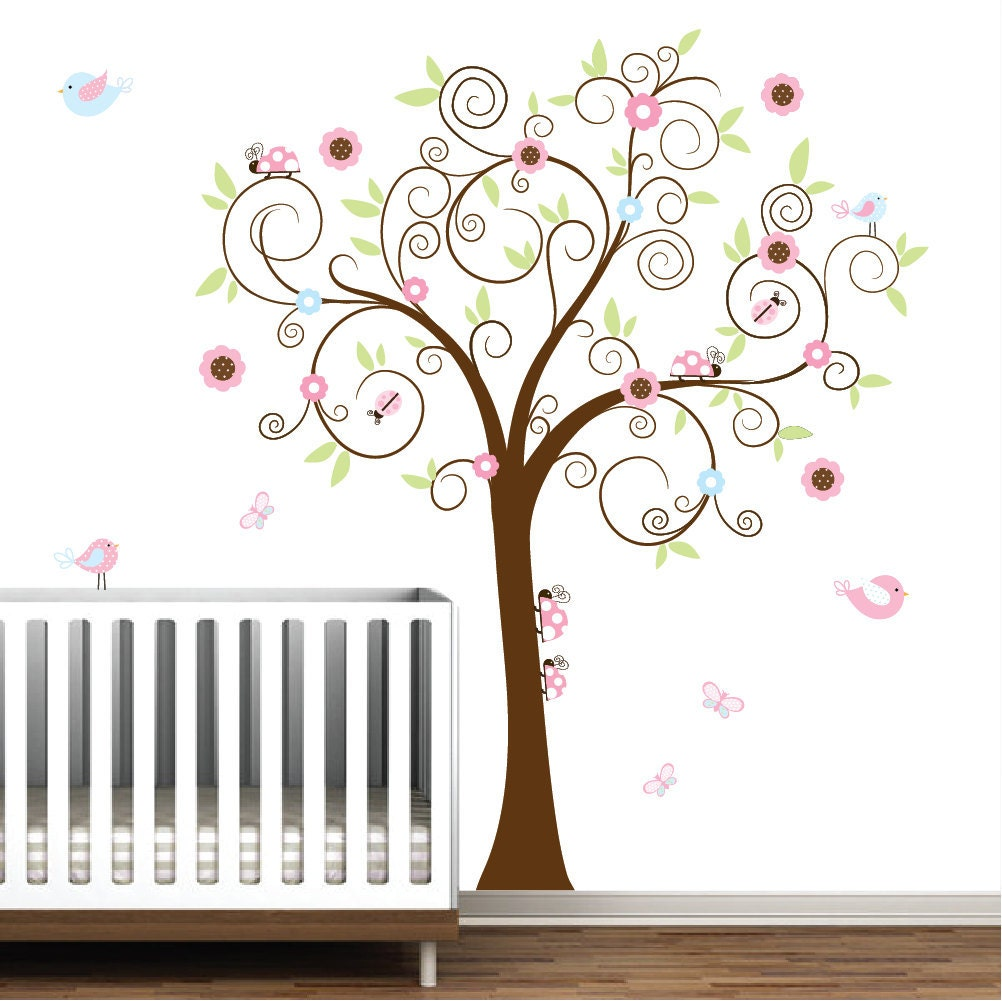 vinyl wall decal tree with ladybugs nursery wall vinyl