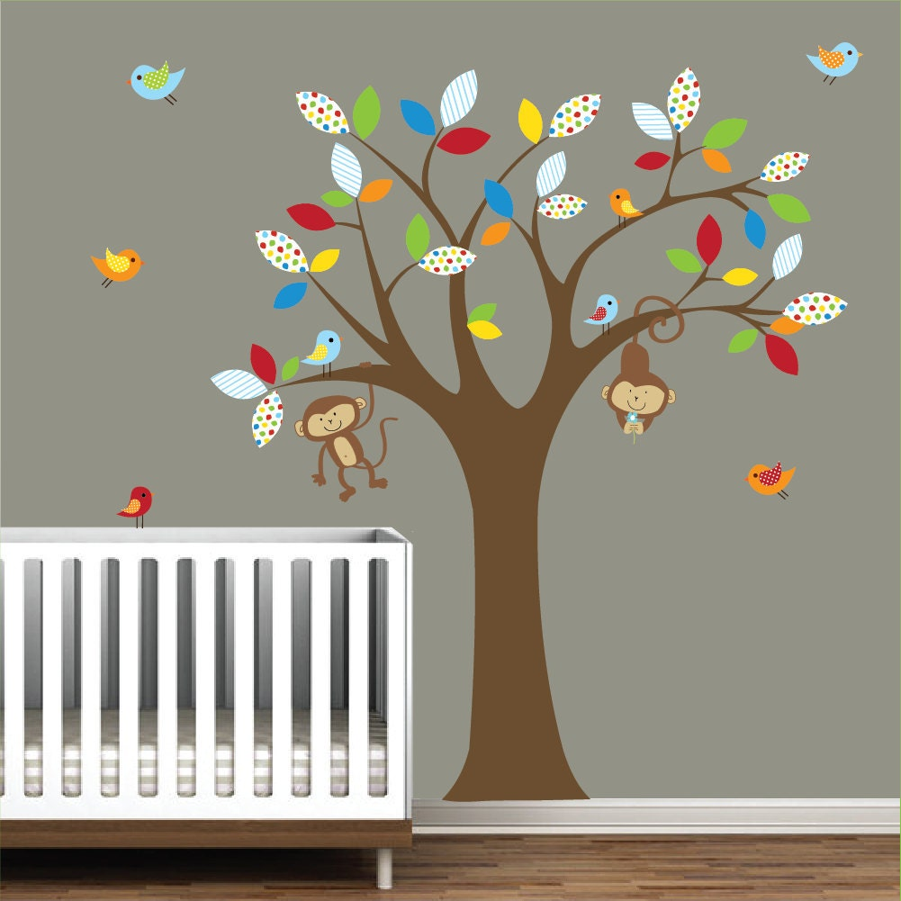 Wall decals tree decal with monkeys nursery vinyl wall decals for Pegatinas pared arbol infantil
