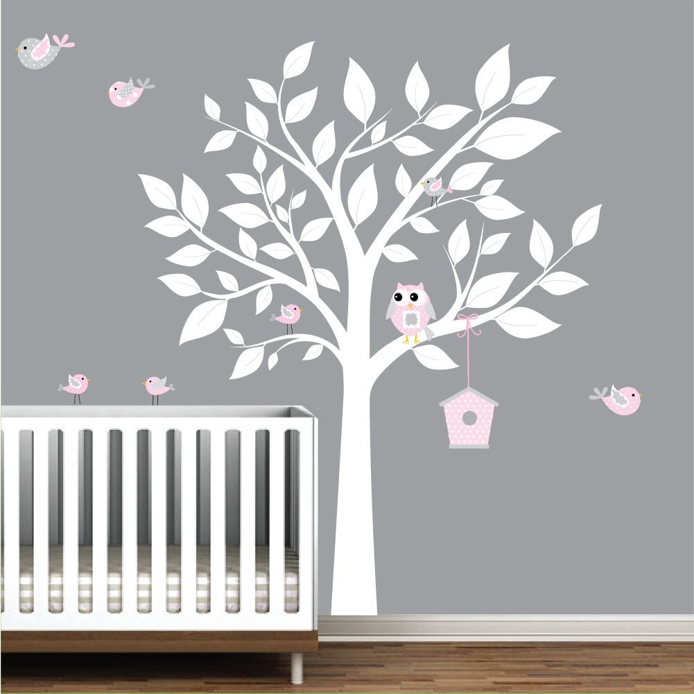 Nursery wall decal white tree with birdsbird house wall zoom amipublicfo Choice Image