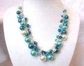 Turquoise / Teal / Ivory Pearl and Crystal Cluster Necklace - Chunky, Choker, Bib, Necklace, Wedding, Bridal, Bridesmaid