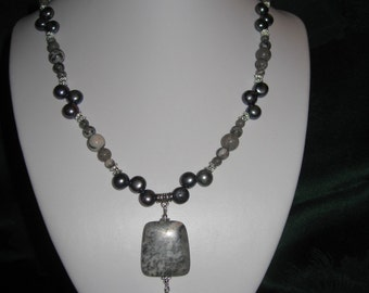 Necklace of Superb Pink Zebra Jasper and Gray Freshwater Pearls