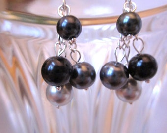Shades of Black and Gray Pearl Dangle Earrings