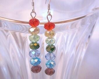Custom Earrings of Rainbow Crystal Rondelles, Silver, Crystal, Dangles, Bridesmaid, Wedding, Bridal, Formal, Fun