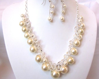 Ivory Pearl and Crystal Cluster Necklace -  Chunky, Choker, Bib, Necklace, Wedding, Bridal, Bridesmaid