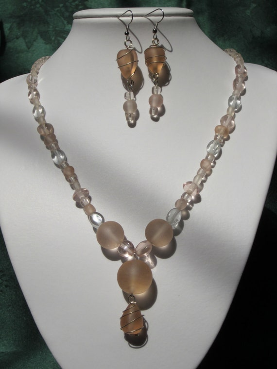 Necklace Set - Smooth Summer Peaches -  Frosted and Clear Glass Beaded Necklace and Earrings Set - PRICE REDUCED