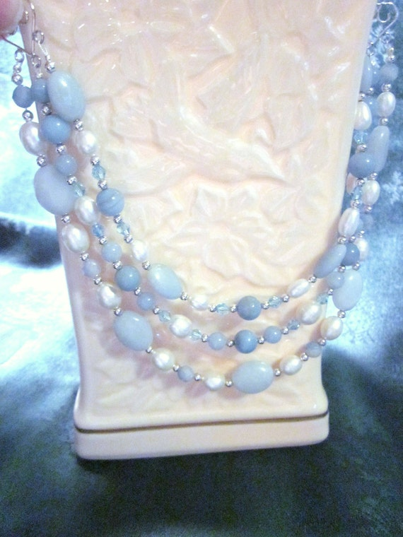 Amazonite and Pearl 3 Strand Necklace and Earrings Set - Absolutely Beautiful Blue Amazonite and Freshwater Pearls, Bib , Choker, Wedding