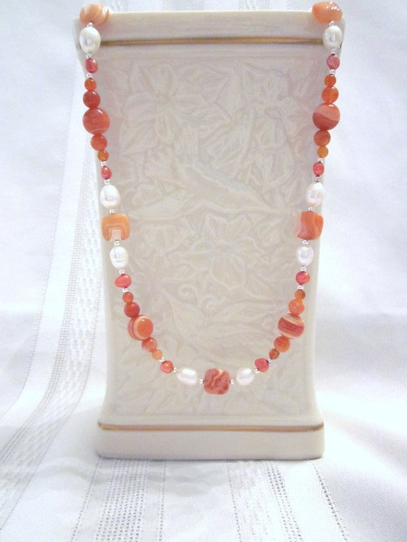 Long Necklace of Rust / Orange  Botswana Agate and Fresh Water White and Orange Pearls