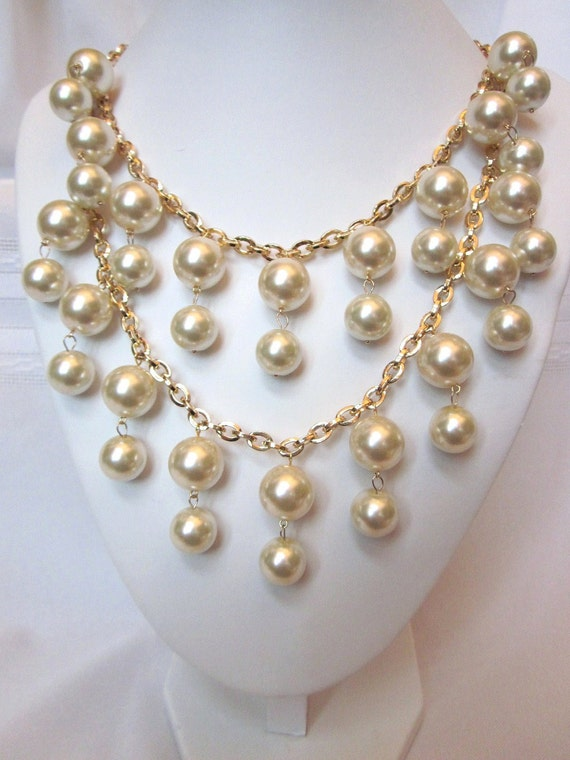 "Pearl Necklace - The ""Caroline"" - Gold & Pearl 2 Strand Necklace -Inspired by the ""2 Broke Girls"" TV Show- Bib, Choker, Bridal, Prom, Formal"