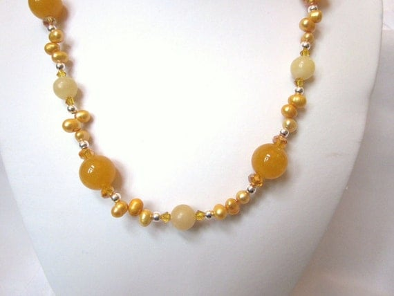 Yellow-Orange Quartz and Agate Necklace Set with Fresh Water Yellow-Orange Pearls, Swarovski Crystal Bicones and Rondelles - Spring Happy
