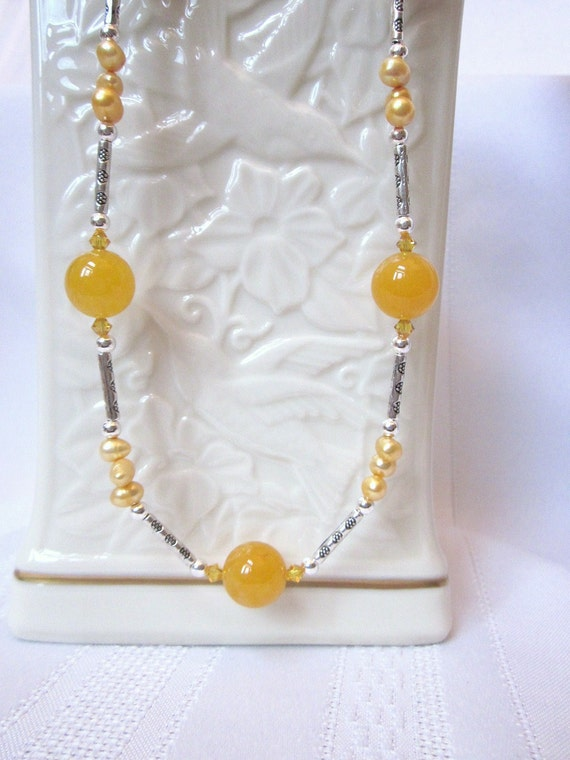 Yellow-Orange Agate Necklace Set with Swarovski Crystals, Fresh Watger Pearls and Tibetan Silver Tube Spacers - Happy Spring
