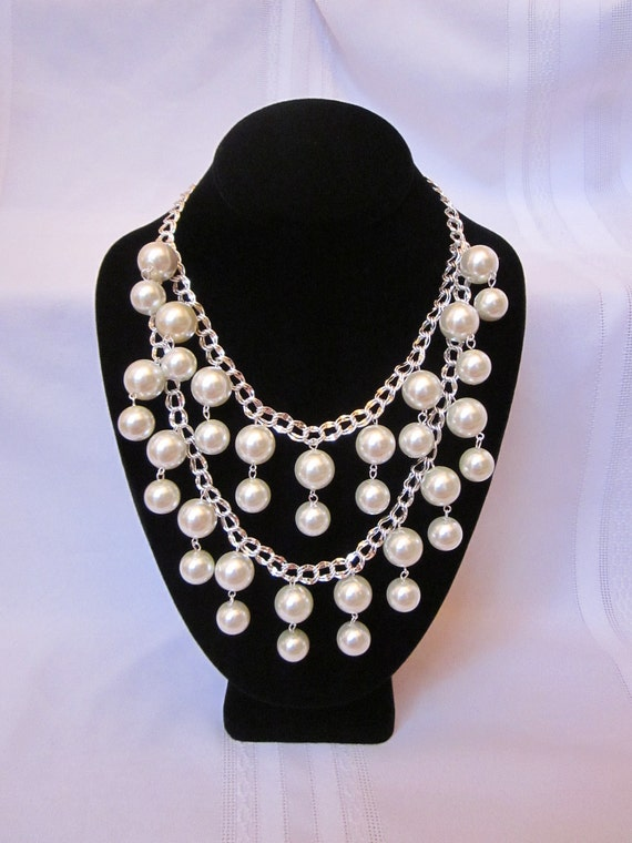 "Pearl Necklace - The ""Silver Caroline""- Inspired by the 2 Broke Girls TV Show, Silver Chain and White Pearls, Wedding, Prom, Formal. Fun"