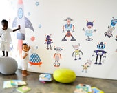 Build-A-Bot Reusable Fabric Wall Decals by Pop & Lolli
