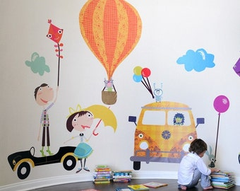 Fun Times and Cars Reusable Fabric Wall Decals by Pop & Lolli