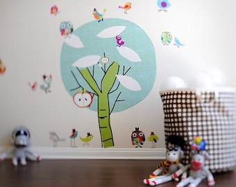 Chirpie Tree Reusable Fabric Wall Decals by Pop & Lolli