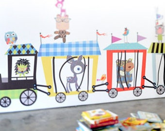 Circus Train Reusable Fabric Wall Decals by Pop & Lolli