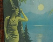 Vintage Framed Print of POCCAHONTAS Gazing at the Moonlight Reflecting on The Lake