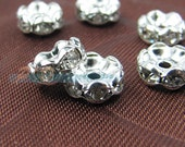 30pcs Silver Rhinestone Rondelle Spacer Beads, 8mm Silver Plated Zircon Inlayed Circles, Jewelry Findings