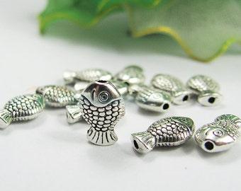 30 pcs Antique Silver Fish Shape Beads Moulding Accessories for Necklace, Bracelet, Angklet, Waist Chain, Pendant etc.