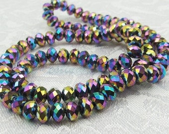 One Strand (approx. 100pk) Rainbow Blue & Purple Czech Glass Rondelle Beads 6X4mm Faceted Oblate