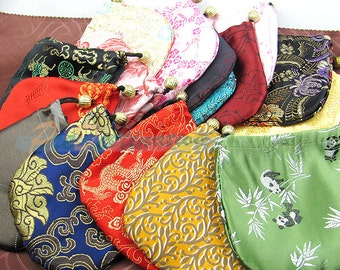 50pcs Colorful Chinese Silk Bags, Traditional Grab Bag Lot, Drawstring Packaging Bags for Jewelry, Necklaces, Bracelets etc...