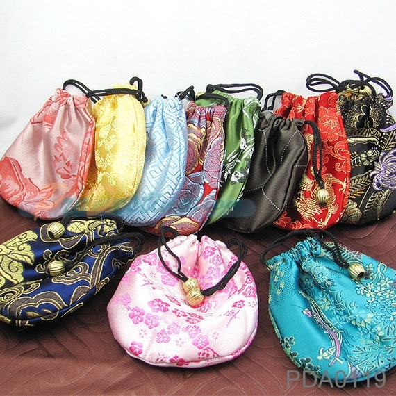 6pcs Colorful Chinese Silk Bags, Traditional Grab Bag Lot, Drawstring Packaging Bags for Jewelry, Necklaces, Bracelets etc...