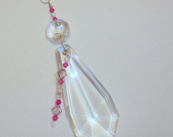 Suncatcher Vintage Chandelier Crystal with Pink and Clear Crystal Beads FREE Shipping