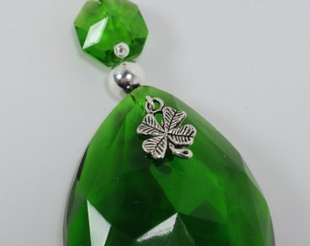 Suncatcher Vintage St. Patrick's Emerald Green Chandelier Crystal with Four Leaf Clover Charm and Silver Bead FREE Shipping