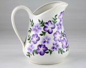 Purple Flowered Hand Painted Pitcher