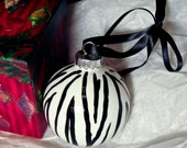 Hand Painted Zebra Print Ornament