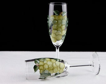 Hand Painted Champagne Glasses, Green Grapes