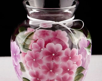 Pink and Lavender Hydrangea Flowered Vase