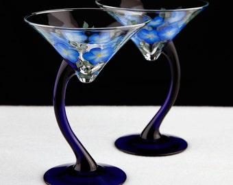 Blue Stemmed Martini Glasses-Reserved for Andrew Lee