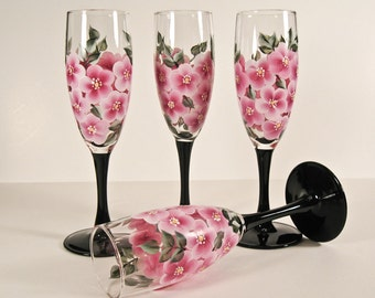 Hand Painted Champagne Glasses, Pink Wild Rose, Set of Four