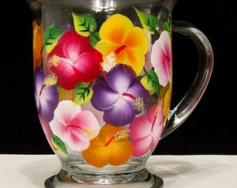Hand Painted Coffee Mug, Hibiscus Flowers