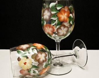 Hand Painted Wine Glasses, Earthtones