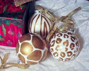 Hand Painted Ornament Set, Gold and White Animal Print