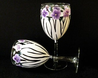 Hand Painted Wine Glasses, Zebra Print
